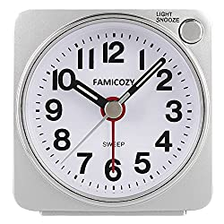 Small Lightweight Travel Alarm Clock,FAMICOZY Silent Non Ticking Analog Alarm Clock with Snooze and Light,Sound Crescendo,Mini Quartz Alarm Clock,Battery Operated(Silver)