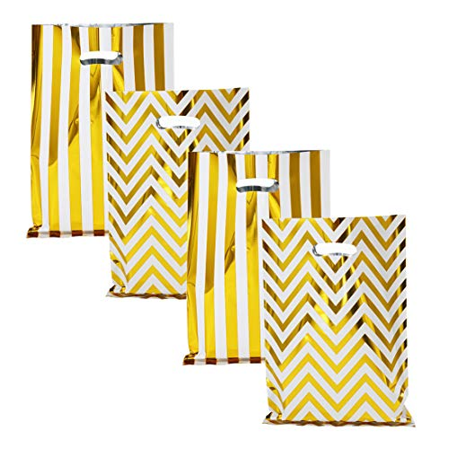 UNIQOOO 60 Metallic Foil Gold Stripe & Wave Wedding Favor Bags, Party Treat Bags Bulk, Gift Candy Cookie Buffet Bag, Great for Christmas, Baby Shower, Birthday Party, Celebrations – 6 1/2″ x 9 3/4