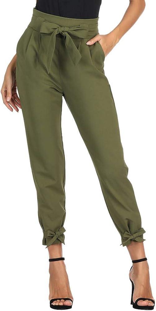 GRACE KARIN Pantalones Casuales de Cintura Alta de Mujeres Elegantes con CinturóN de Cintura Alta Decorado con Lazo