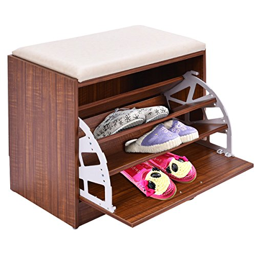 Shoe Entryway Storage Bench Shelf Organizer Rack Wood Seat Cabinet Furniture 2 Hallway Tier Shelves Ottoman Closet Home Bamboo New