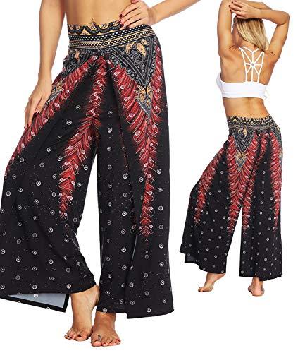 KIWI RATA Women's Chiffon Split Flared Skirt Pants Palazzo Boho Wide Leg High Waist Loose Trousers (L(US 10), 3 Red-Printed)