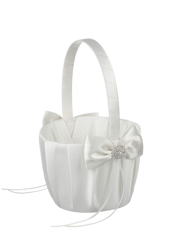 DivaDesigns Medium Size Wedding Flower Girl Basket Crystal Jewel Pendant- 615 White