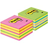 Post-it 2028NX2 Haftnotiz Würfel Promo-Pack (70 g/qm, 76 x 76 mm) 2x450 Blatt neongrün, neonpink