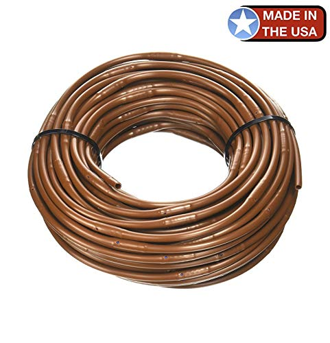 One Stop Outdoor USA Made - 1/4-Inch x 100-Feet Irrigation/Hydroponics Dripline with 6-Inch Emitter Spacing (Brown) (Best Irrigation System For Roses)