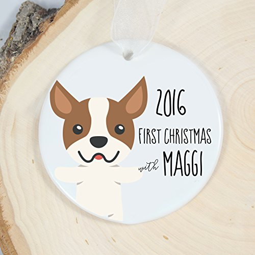 - Mrs. MyLaurie First Christmas Ornament - Personalized Pet Ornament - Dog Gift - Welcome Boston Terrier (brown)