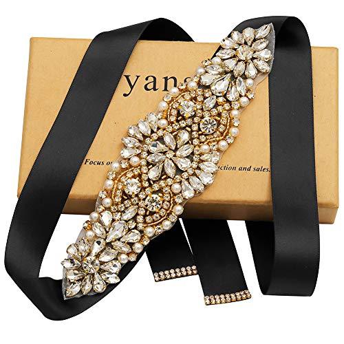 Yanstar Handmade Gold Crsytal Wedding Bridal Belt Sash With Black Ribbons For Bridal Gowns