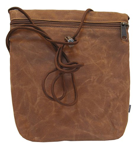 """""""Charlotte"""" Small Cross Body Handbag in Waxed Cotton Canvas - Made in Maine (Brown)"""