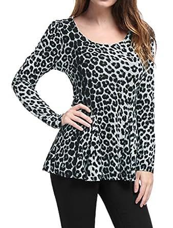 Allegra K Mujer Camiseta de Manga Larga con Estampado de Leopardo con Sobrefalda - Gris/XS