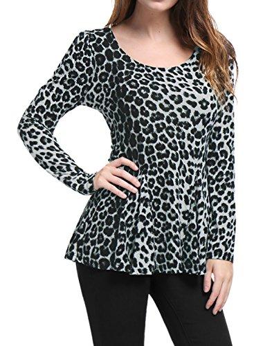 - Allegra K Women's Long Sleeves Scoop Neck Leopard Prints Peplum Shirt Grey L (US 14)