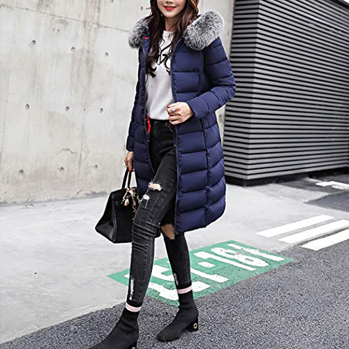 Duvet Rversible avec Doudoune Coton Taille Hiver Longue Manteau Fourrure Grande de Capuche de Chauden Bleu Coton HANMAX Femme qw7CtgC