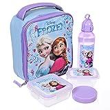 Disney Girls' Princess Frozen Anna and Elsa 5 Piece Insulated Lunch Kit Set