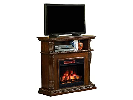 Amazon Com Corinth Electric Fireplace Tv Stand In Walnut With