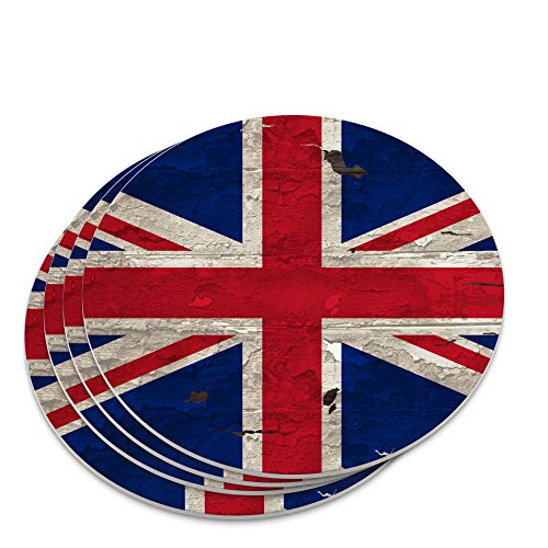 Rustic Distressed United Kingdom British Flag Novelty Coaster Set