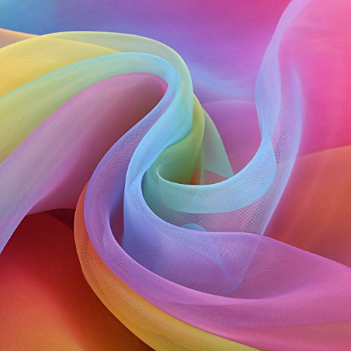 BBTO 16 Feet 54 inch Rainbow Organza Multicolored Voile Dress Fabric Fancy Costumes Decorations