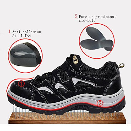 Safety Toe Work Shoes Comp Shoes Men's Steel Shoes Black Optimal Gray O5x7nAqp