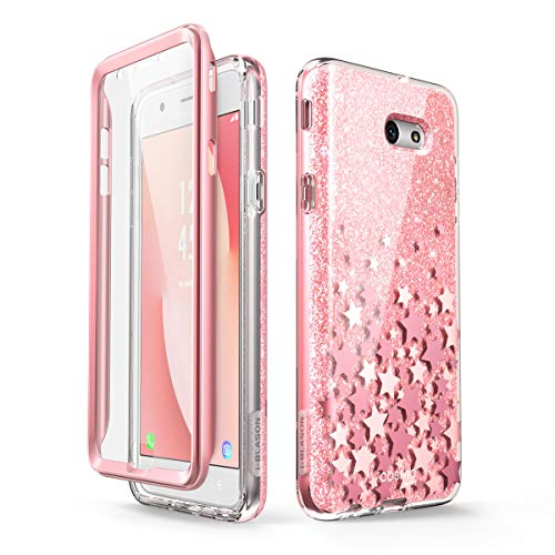- i-Blason Case Designed for Galaxy J7 2017, Cosmo Series Full-Body Glitter Bumper Case with Built-in Screen Protector for Galaxy J7 (SM-J727), Not fit J7 2018 (SM-J737) (Pink)