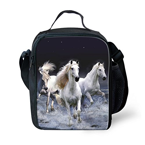 Mumeson Horse Printed Insulated Lunch Bag Kids Lunch Box Kit For School Boys Girls