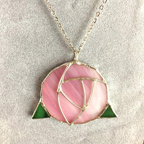 Pink Mackintosh Rose - Stained Glass Necklace - Pink Mackintosh Rose Pendant - Colorful Floral Jewelry - Gift for Mom