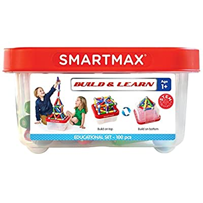SmartMax Build & Learn (100 pcs) STEM Magnetic Discovery Building Set Featuring Safe, Extra-Strong, Oversized Building Pieces and Sturdy Storage Case for Ages 3+: Toys & Games