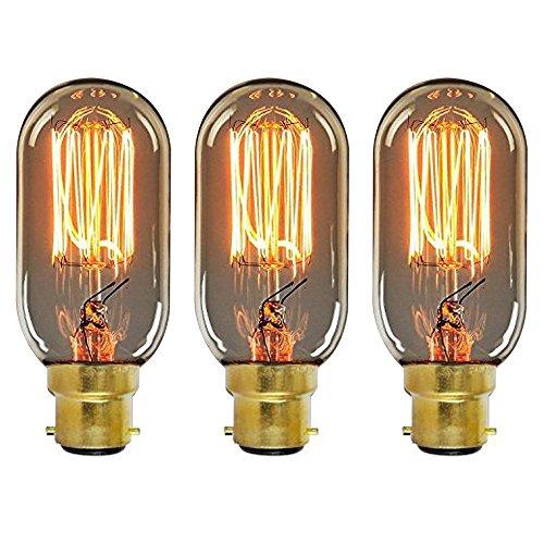 ONEPRE Vintage BC B22 Bayonet Filament Light Bulb 40W Tube Style Retro Edison Light Bulb Dimmable T45