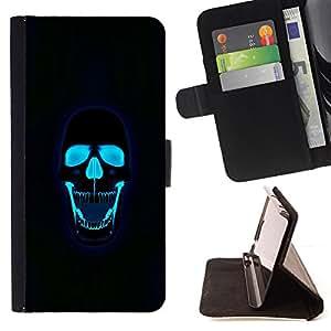 Ihec-Tech / Negro Flip PU Cuero Cover Case para Samsung Galaxy A3 - Crâne eau rock Death Metal
