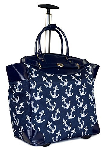 Ever Moda Anchor Travel Bag with Wheels Luggage Carry On for Laptop (Navy Blue) by Ever Moda