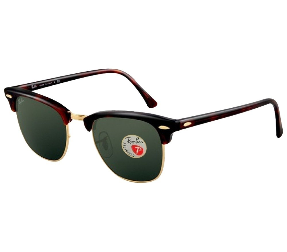 Ray-Ban Classic Clubmaster B07FJS4SF1 51 mm|Tortoise Frame Solid Polarized Lens