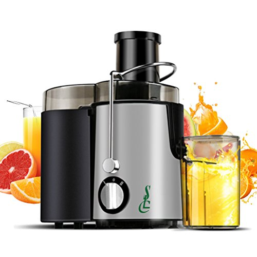 SLC Juice Extractor, Wide Mouth Centrifugal Juicer Machine, 400W Stainless Steel Dual Speed Setting Fruit and Vegetable Juicer with Juice Jug and Cleaning Brush (Silver)