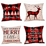 4 Pack Farmhouse Christmas Red Black Buffalo Plaids Throw Pillow Case Have Yourself A Merry Little Christmas Quotes Deer Snowflake Xmas Trees Holiday Decorative Cushion Cover Cotton Linen 18x18 Inch
