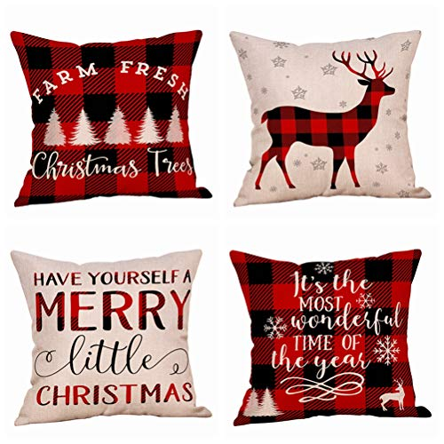 4 Pack Farmhouse Christmas Red Black Buffalo Plaids Throw Pillow Case Have Yourself A Merry Little Christmas Quotes Deer Snowflake Xmas Trees Holiday Decorative Cushion Cover Cotton Linen 18x18 Inch - Merry Christmas Throw Pillow