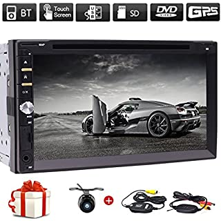 Discount Free Wireless Backup Camera & Remote Control+ 7' Wince Double Din Car Radio in Dash FM/AM Multi-Touchscreen GPS Navigation Car DVD Player Headunits with Bluetooth Subwoofer USB SD SWC + Free Map Card
