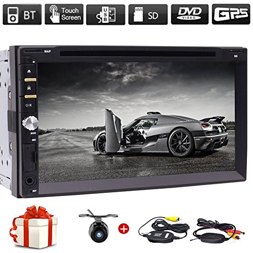 "Free Wireless Backup Camera & Remote Control+ 7"" Wince Double Din Car Radio in Dash FM/AM Multi-Touchscreen GPS Navigation Car DVD Player Headunits with Bluetooth Subwoofer USB SD SWC + Free Map Card"