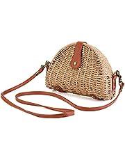 Stroh Umhängetasche, JOSEKO Stroh Crossbody Tasche Runde Sommer Strand Geldbörse und Handtaschen für Frauen Hellbraun