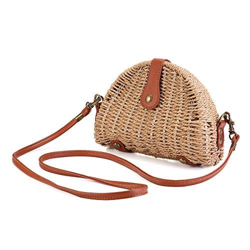 Crossbody Straw Bag, JOSEKO Womens Straw Handbag Shoulder Bag for Beach Travel and Everyday Use (9.25