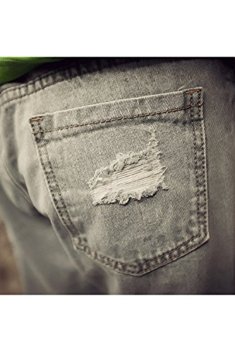 Zojuyozio De Lavage Grey Un A Trouses Cheville La En Des Trou Jeans Denim Pantalons H6qpH1