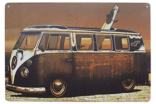Laurenycy Tin Sign Quality Volkswagen Kombi Van Metal Sign Vintage Garage Home Decor 8X12 INCH