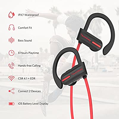 Bluetooth Headphones, Tsumbay IPX7 Waterproof Headphone, Wireless Sport Earphones In-Ear Earbuds with Mic, HD Stereo Sound, Bass, Secure Fit, Sweatproof, Noise Cancelling, 8-9 Hrs for Gym Running