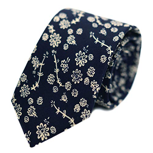 JESLANG Men's Cotton Printed Floral Tie 2.56