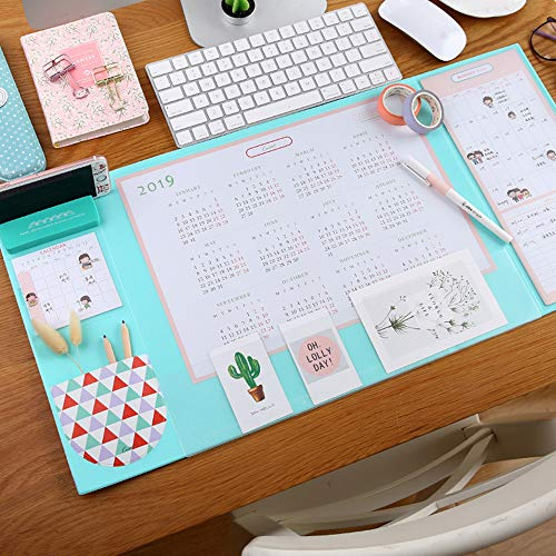 (Desk Pad with 2019 Calendar, Aisakoc 25.6'' x 12.6'' Waterproof Desk Mouse Pad Multifunction Desk Mat with Phone Holder, Pockets and Planner Cards (Mint Green))