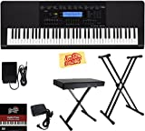 : Casio WK-245 Workstation Keyboard Bundle with Adjustable Stand, Bench, Sustain Pedal, Power Supply, Austin Bazaar Instructional DVD, and Polishing Cloth