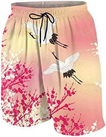 キッズ ビーチパンツ 和風 和柄 桜 鶴柄 サーフパンツ 海パン 水着 海水パンツ ショートパンツ サーフトランクス スポーツパンツ ジュニア 半ズボン ファッション 人気 おしゃれ 子供 青少年 ボーイズ 水陸両用