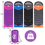 Sleeping Bag 3 Season (Summer, Spring, Fall) Warm & Cool Weather - Lightweight,Waterproof Indoor & Outdoor Use for Kids, Teens & Adults for Hiking,Backpacking and Camping