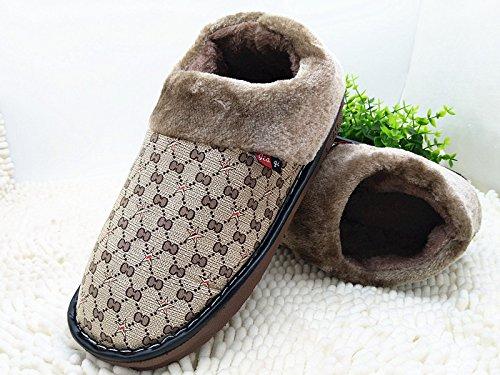 CWAIXXZZ pantoufles en peluche Laugmentation dhiver chaussons coton code mens King Size 45 46 47 48 dépaisseur, antidérapants chaussures Accueil chaleureux (320 pour un 46-47 pied dusure), brown