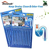 Drain Deodorizer Sticks Drain Sticks Drain Cleaner Sticks Drain Stix Original Blue Unscented Non-Toxic for Kitchen Bathroom Sinks Septic Tank Safe As Seen On TV 24 Pcs