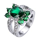 WOWJEW Emerald Green Ring White Gold Ring Vintage Wedding Rings Charm Jewelry