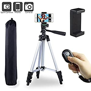 """Paladinz Phone Tripod 42 """" Inch Aluminum Lightweight iPhone Tripod Stand for Camera iPhone Samsung Smartphone Cellphone with Carrying Bag and Smartphone Mount and Wireless Bluetooth Remote Control"""
