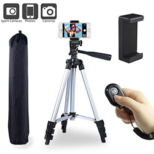 "Paladinz Phone Tripod 42 "" Inch Aluminum Lightweight iPhone Tripod Stand for Camera iPhone Samsung Smartphone Cellphone with Carrying Bag and Smartphone Mount and Wireless Bluetooth Remote Control"
