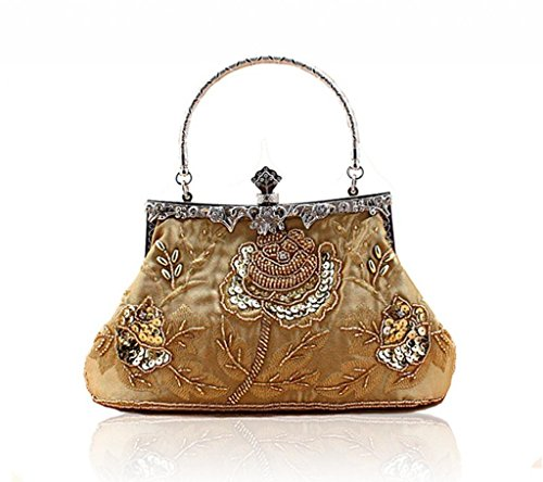 Vintage Clutch Beaded Seed Sequined Golden Evening Wedding Handbag Handmade RrUIqwr