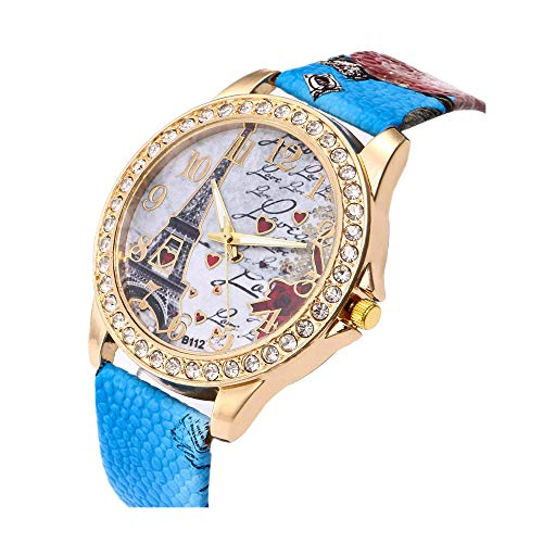 Silver Arabic Markers - Women's Wrist Watch Vintage Paris Eiffel Tower Crystal Leather Quartz Wristwatch Best Gift (Blue)