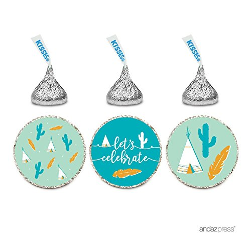 Andaz Press Birthday Chocolate Drop Labels Trio  Fits Hersheys Kisses Party Favors  American Southwest Teepee  Cactus  Feather  216 Pack